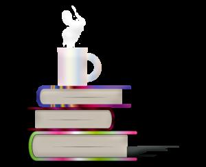 Bücher mit Kaffetasse